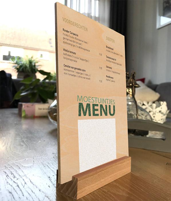 bedrukte houten menukaart