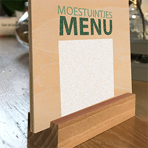 Houten menukaart